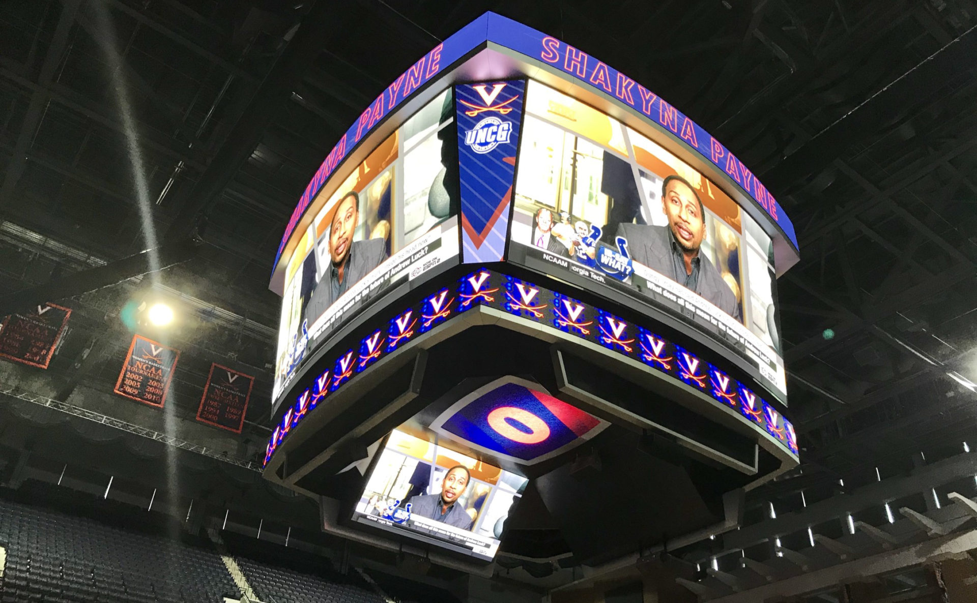 AJP, Anthony James Partners, AV Consulting, Control Room, Video Replay, Broadcast Cabling, IPTV, CATV, Distributed TV, Basketball, Center Hung, UVA, University of Virginia, College Sports, Division 1, High Definition, LED Scoreboard, LED Video, LED Videoboard, NCAA