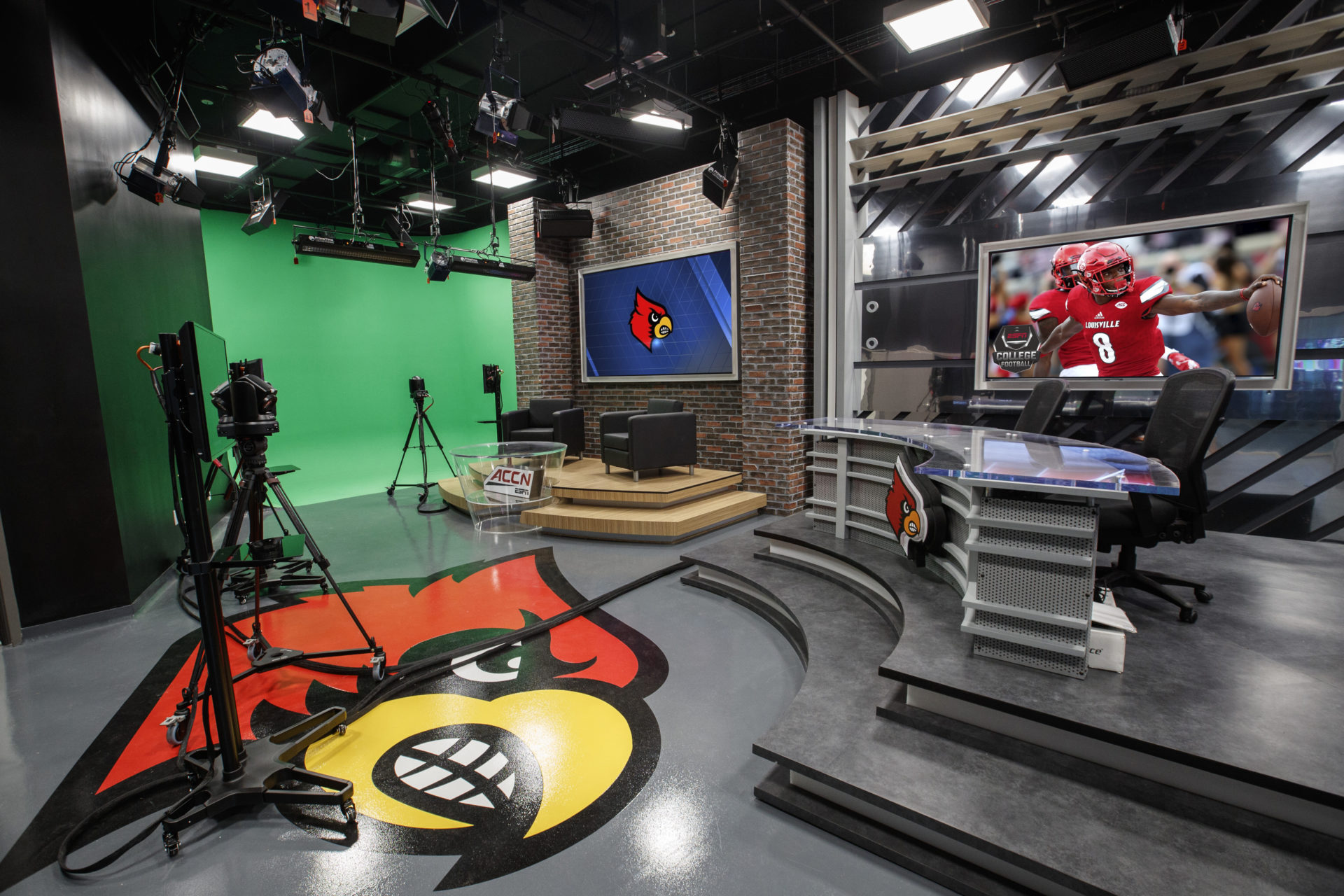 ACC, ACC Network, AJP, Anthony James Partners, AV Consulting, Broadcast, Broadcast Studio, College Sports, Distributed TV, edit suites, ESPN, production control room, Video Replay, University of Louisville, Cardinals