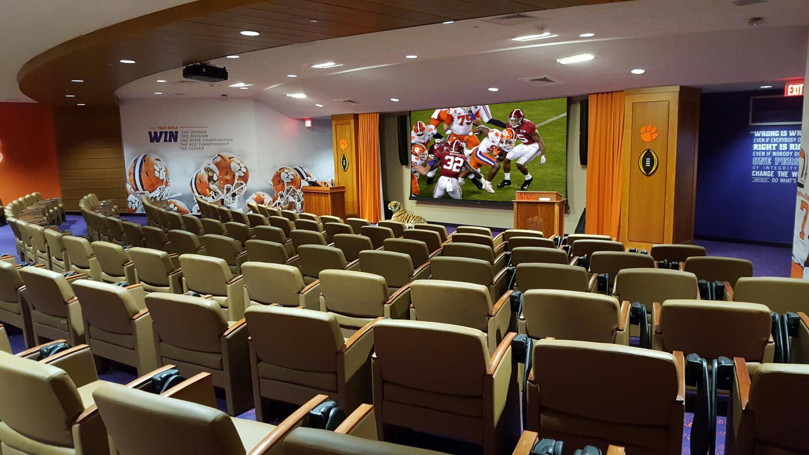 Clemson University, Allen N. Reeves Football Complex, Clemson Tigers, HOK, Training Facility, Football Operations Center, ACC Network, AV Solutions, AV Technology, Projection Systems, IPTV, Distributed TV, LED, Digital Signage, Broadcast Engineering, Broadcast and Production Controls, Infrastructure Cabling, Campus Fiber System, Audio, Lighting, AV Consultant, Owner's Representative, College Sports, College Football, NCAA Division 1, NCAA Champions, NCAA Championship, Locker Room AV