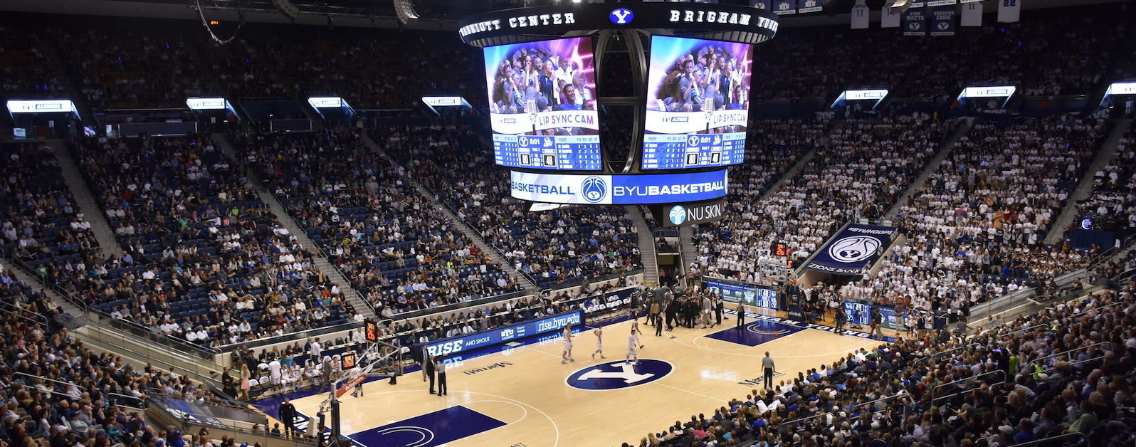 Anthony James Partners, AJP, Brigham Young University, BYU, High-density Wi-Fi, WiFi, DAS, WiFi/DAS, Aruba Wi-Fi, in-game app, Marriott Center, arena, College Sports, collegiate sports, basketball, led display, videoboard, video board, scoreboard, center hung, centerhung, center-hung, NCAA, men's basketball, intercollegiate, AV Consultant, A/V consultant, Owner's Representative, scoreboard, LED displays, Broadcast Cabling, Infrastructure Cabling, Control Room, Arena Audio, Arena Sound Reinforcement, Stadium Sound Reinforcement, College Football, Cougars, BYU Cougars, Lavell Edwards, High Density Wi-Fi