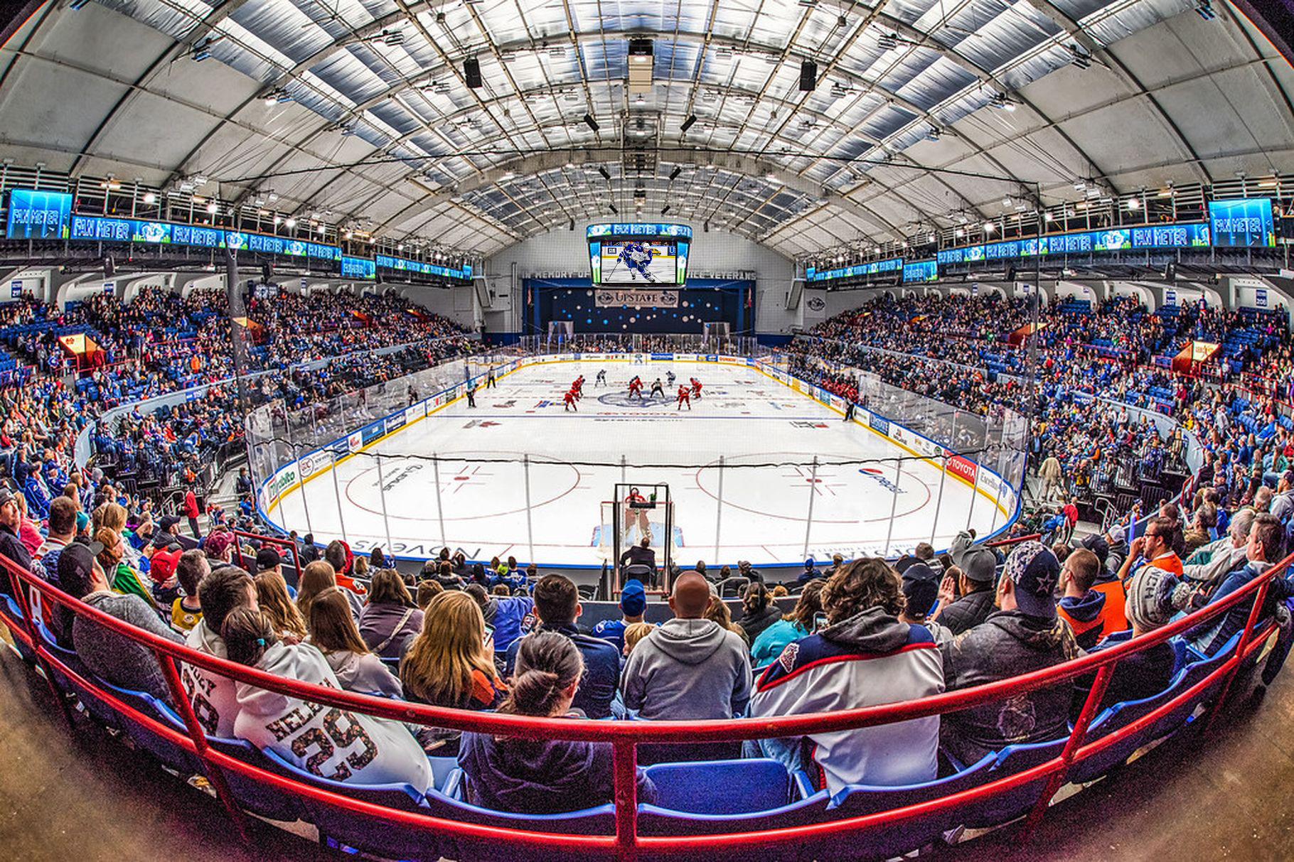Syracuse Crunch, Control Room Broadcast Cabling, Cabling infrastructure, structured cabling, LED display, videoboard, scoreboard, center hung, centerhung, center-hung, AHL, hockey, American Hockey League, marquee, arena LED, screens, scoreboard, video control system, IPTV, AJP