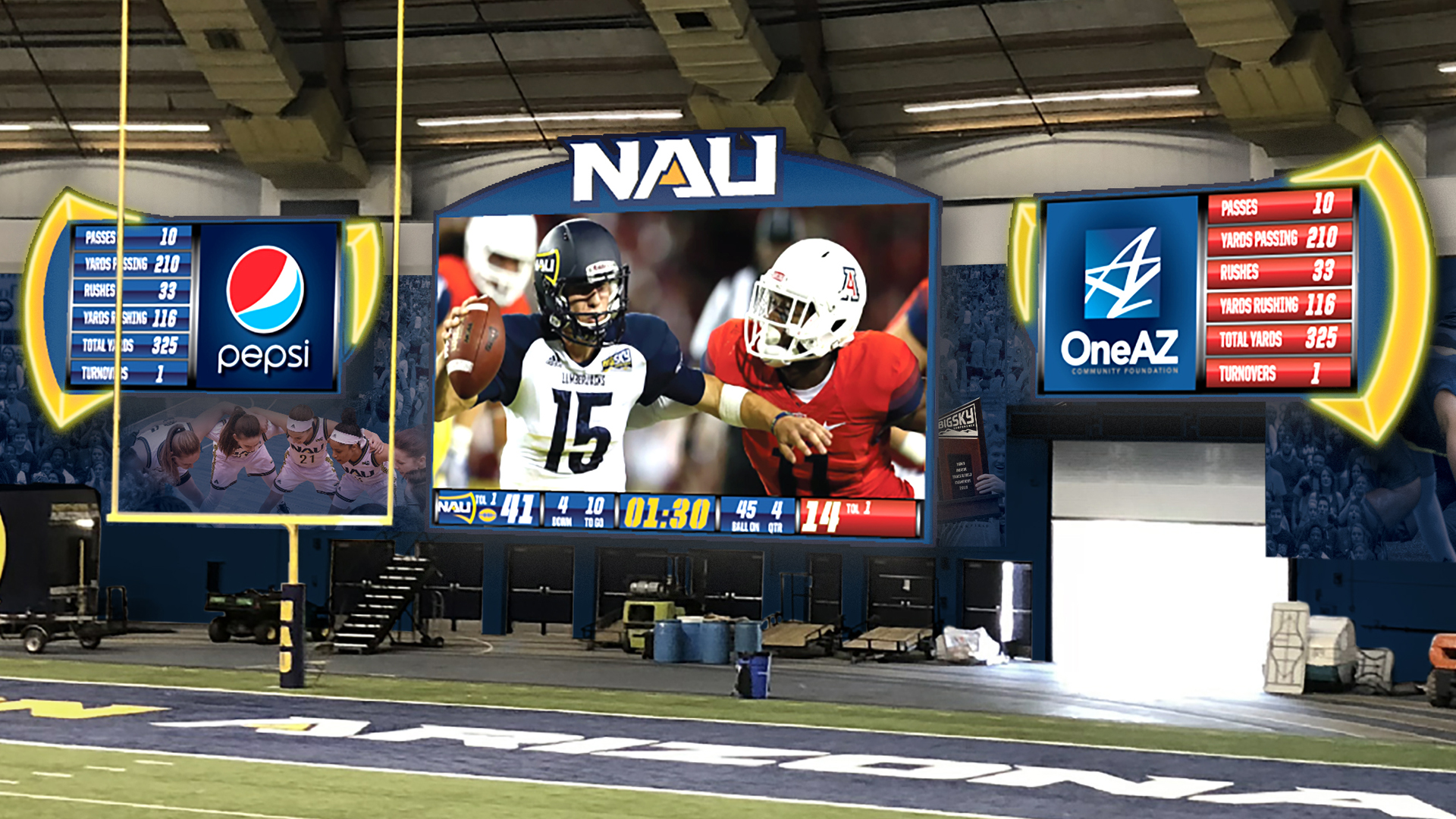 Anthony James Partners, AJP, NAU, Northern Arizona University, Walkup Skydome, J. Lawrence Walkup Skydome, Lumberjacks, College Sports, collegiate sports, LED display, videoboard, video board, scoreboard, football, basketball, Big Sky Conference, NCAA, intercollegiate, AV Consultant, A/V consultant, Owner's Representative, scoreboard, LED displays, College Football, scoring controllers, locker room clocks, play clocks
